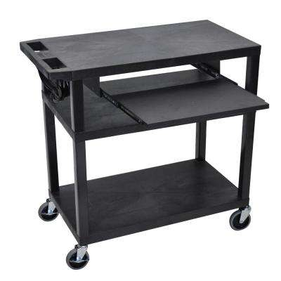 EA 32 in. W x 18 in. D x 34 in. H 3-Flat Shelf Presentation Utility Cart with Pullout Shelf in Black