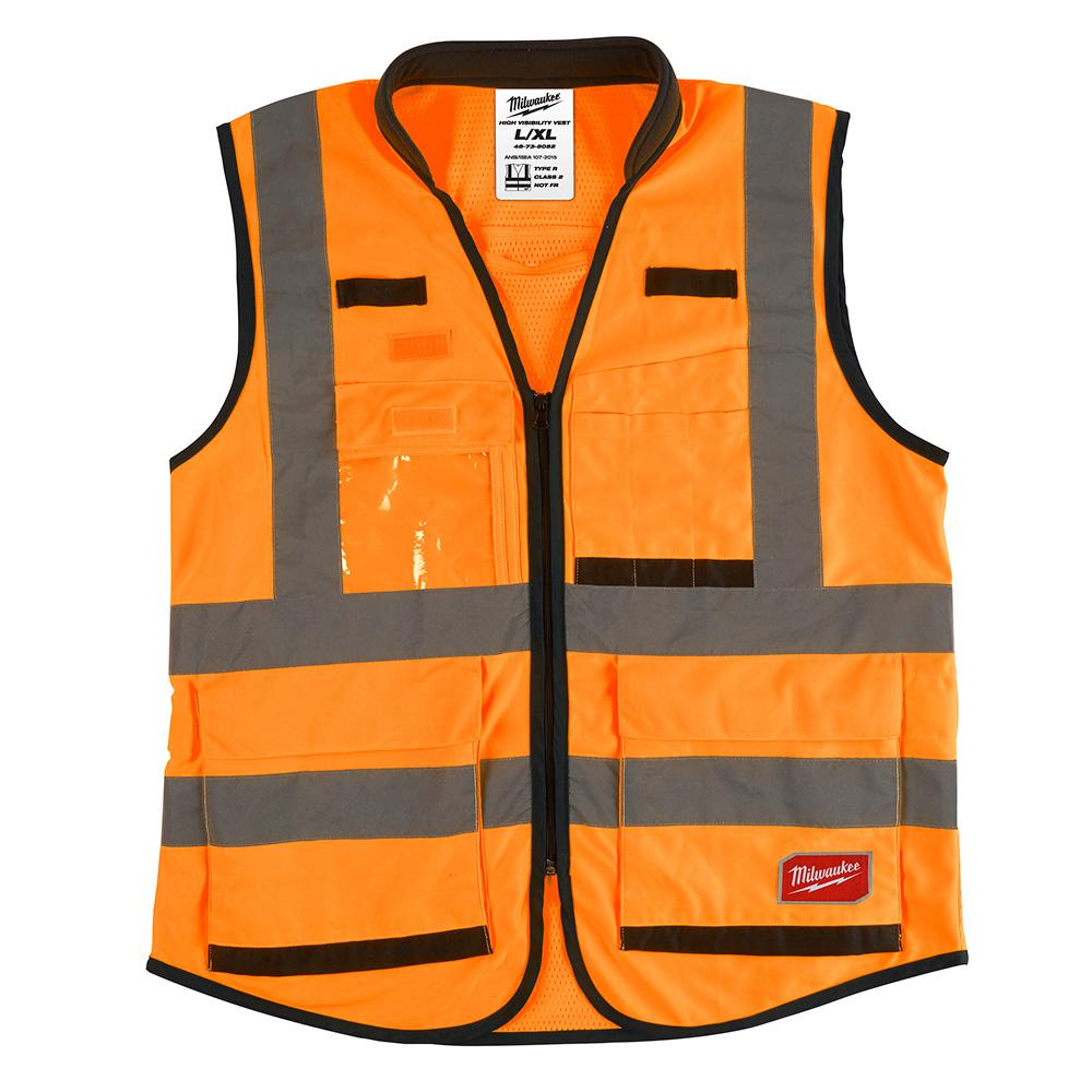 Milwaukee Milwaukee High Performance Large/X-Large Orange Class 2-High Visibility Safety Vest, Adult Unisex
