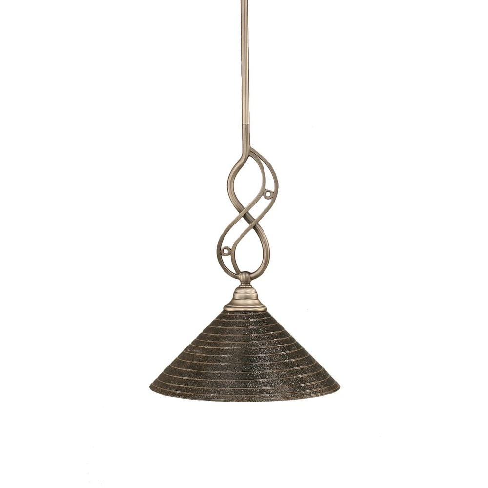 1-Light Brushed Nickel Pendant with Blue Italian Glass