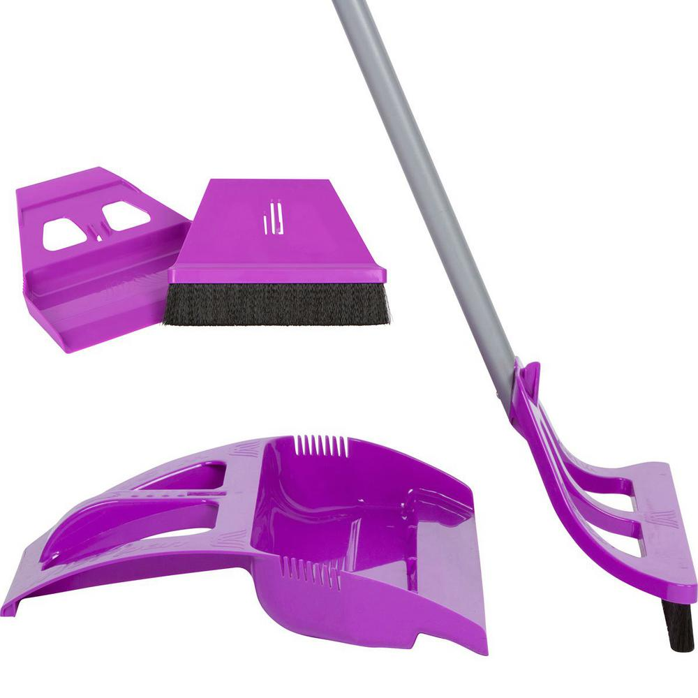 Cleaning Set Purple 1-Handed Telescoping Broom with Foot Operated Dustpan, Mini