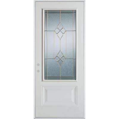 37.375 in. x 82.375 in. Geometric Zinc 3/4 Lite 1-Panel Painted White Right-Hand Inswing Steel Prehung Front Door