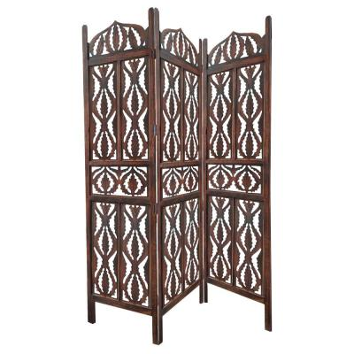 Brown Decorative 3-Panel Mango Wood Screen with Abstract Carvings