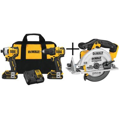 ATOMIC 20-Volt MAX Lithium-Ion Brushless Cordless Compact Drill/Impact Combo Kit (2-Tool) with Circular Saw