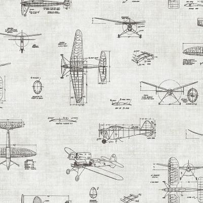 Douglas Black Vintage Planes Wallpaper