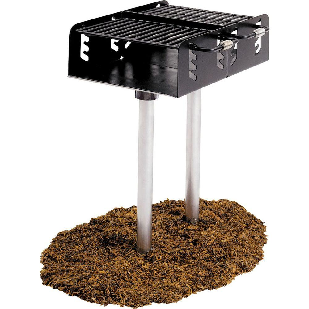 Ultra Play Dual Grate Commercial Park Charcoal Grill with Post