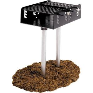 Ultra Play Dual Grate Commercial Park Charcoal Grill with Post by Ultra Play