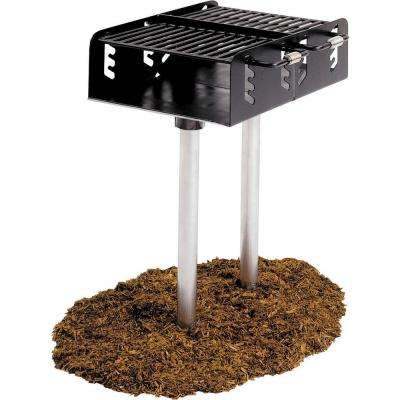 Dual Grate Commercial Park Charcoal Grill with Post in Black