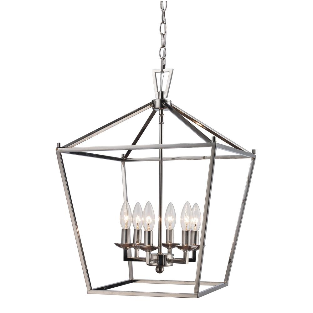Bel Air Lighting 6LT Polished Chrome Pendant Bird Cage