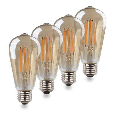 40-Watt Equivalent ST19 Dimmable Decorative Amber Glass Filament Vintage Style LED Light Bulb Warm White (4-Pack)