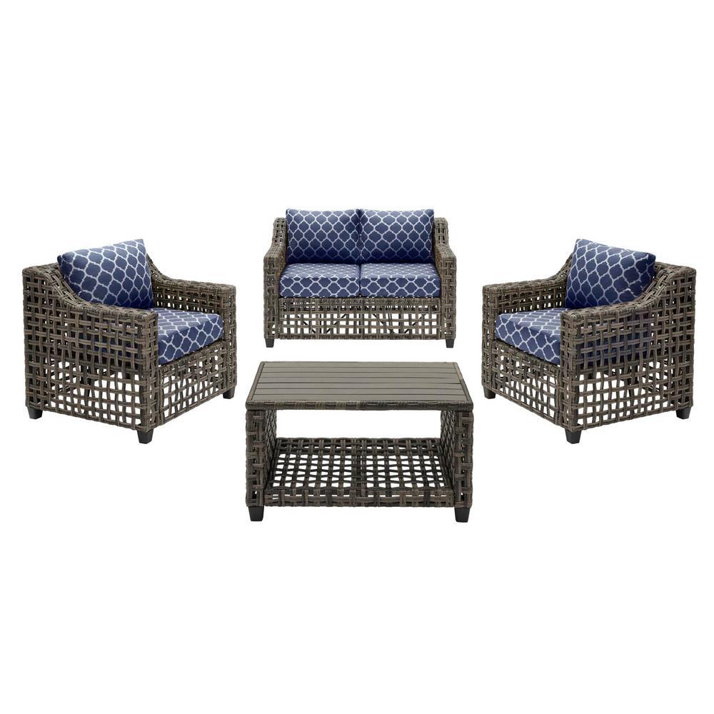 Briar Ridge 4-Piece Brown Wicker Outdoor Conversation Deep Seating Set w/ CushionGuard Midnight Trellis Navy Cushions