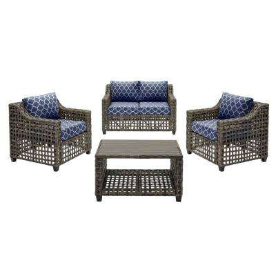 Briar Ridge 4-Piece Brown Wicker Outdoor Conversation Deep Seating Set w/ CushionGuard Midnight Trellis Navy Cushions