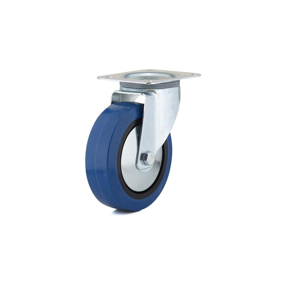 6-5/16 in. Blue Swivel Without Brake plate Caster, 308.7 lb. Load