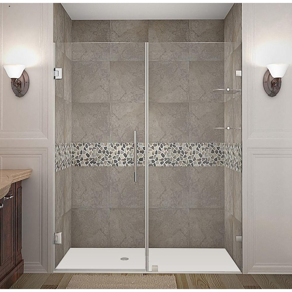 Aston Nautis GS 62 in. x 72 in. Completely Frameless Hinged Shower Door with Glass Shelves in Chrome