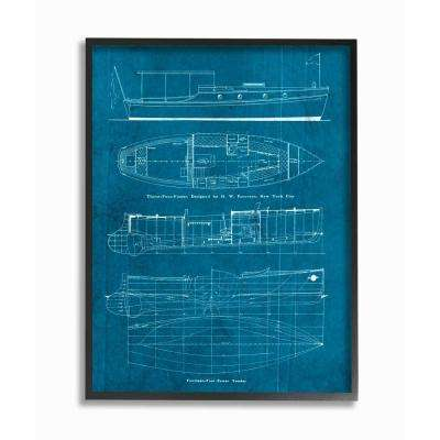 """11 in. x 14 in. """"Informational Boat Blueprint"""" by Piddix Printed Framed Wall Art"""