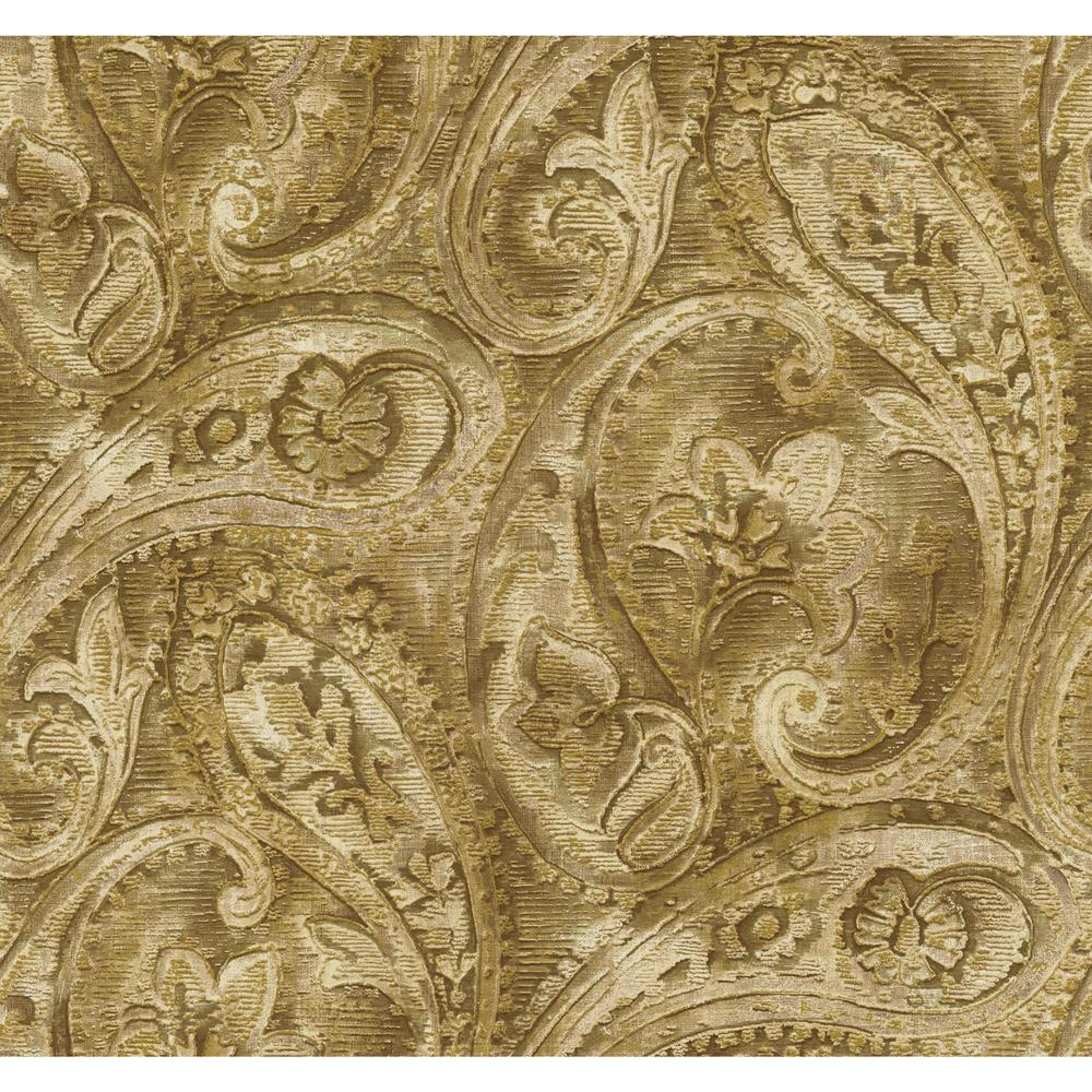 YorkWallcoverings York Wallcoverings Gold Leaf Raised Paisley Wallpaper, beige/ gold/ bronze