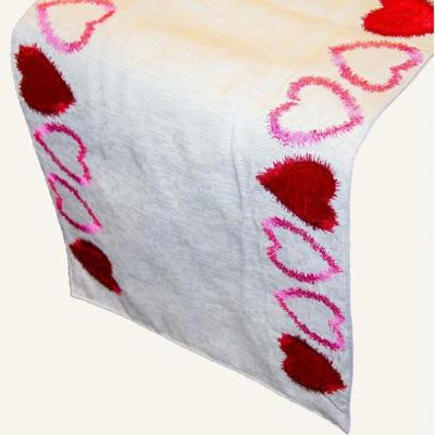 Linen Radiant Heart Cotton and Poly Table Runner