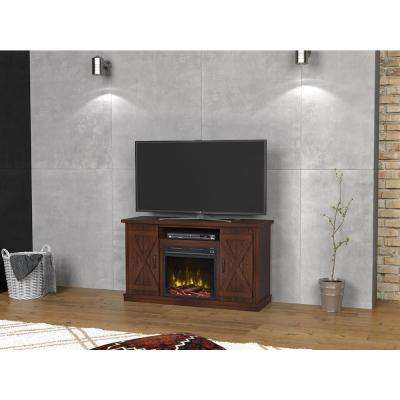 Cottonwood 47.50 in. Media Console Electric Fireplace in Saw Cut Espresso