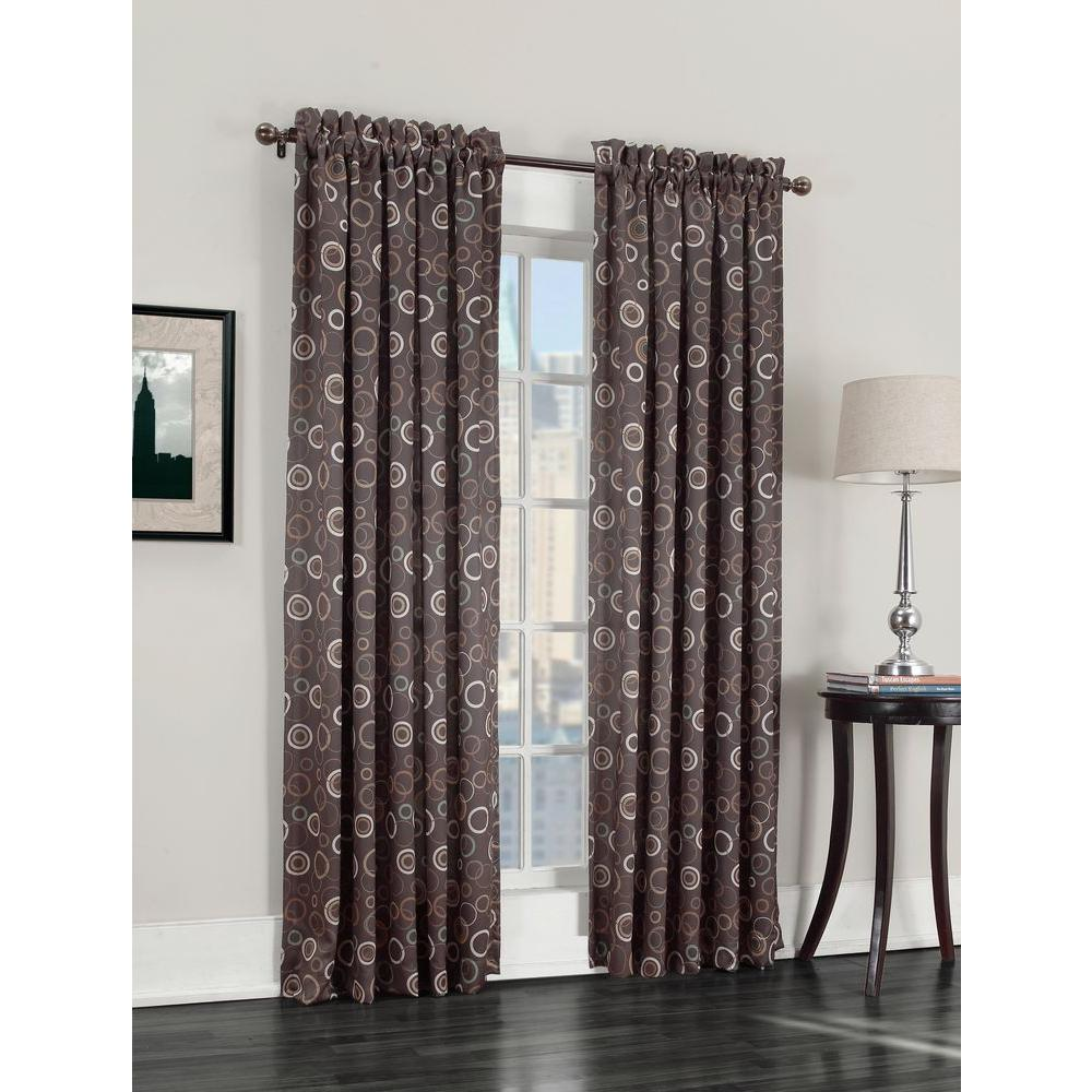 Semi-Opaque Chocolate Galloway Room Darkening Curtain Panel, 54 in. W x