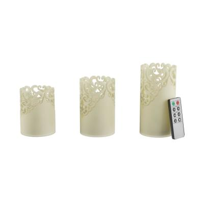 Lace Design Flameless Candle Set with Remote Control (Set of 3)