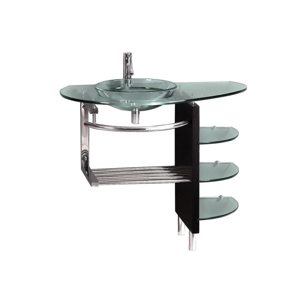 kokols parada pedestal combo bathroom sink in clear wf 41 the home depot. Black Bedroom Furniture Sets. Home Design Ideas