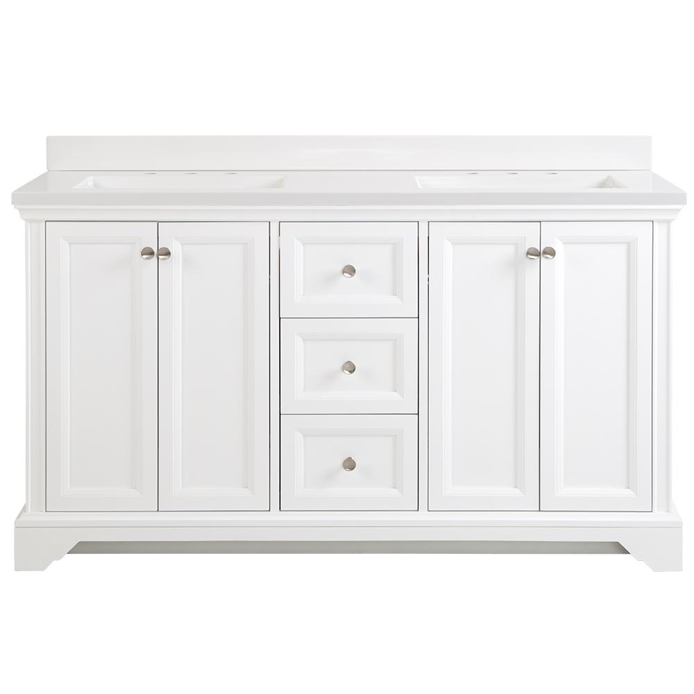 Home Decorators Collection Stratfield 61 in. W x 22 in. D Bath Vanity in White with Cultured Marble Vanity Top in White with White Sinks