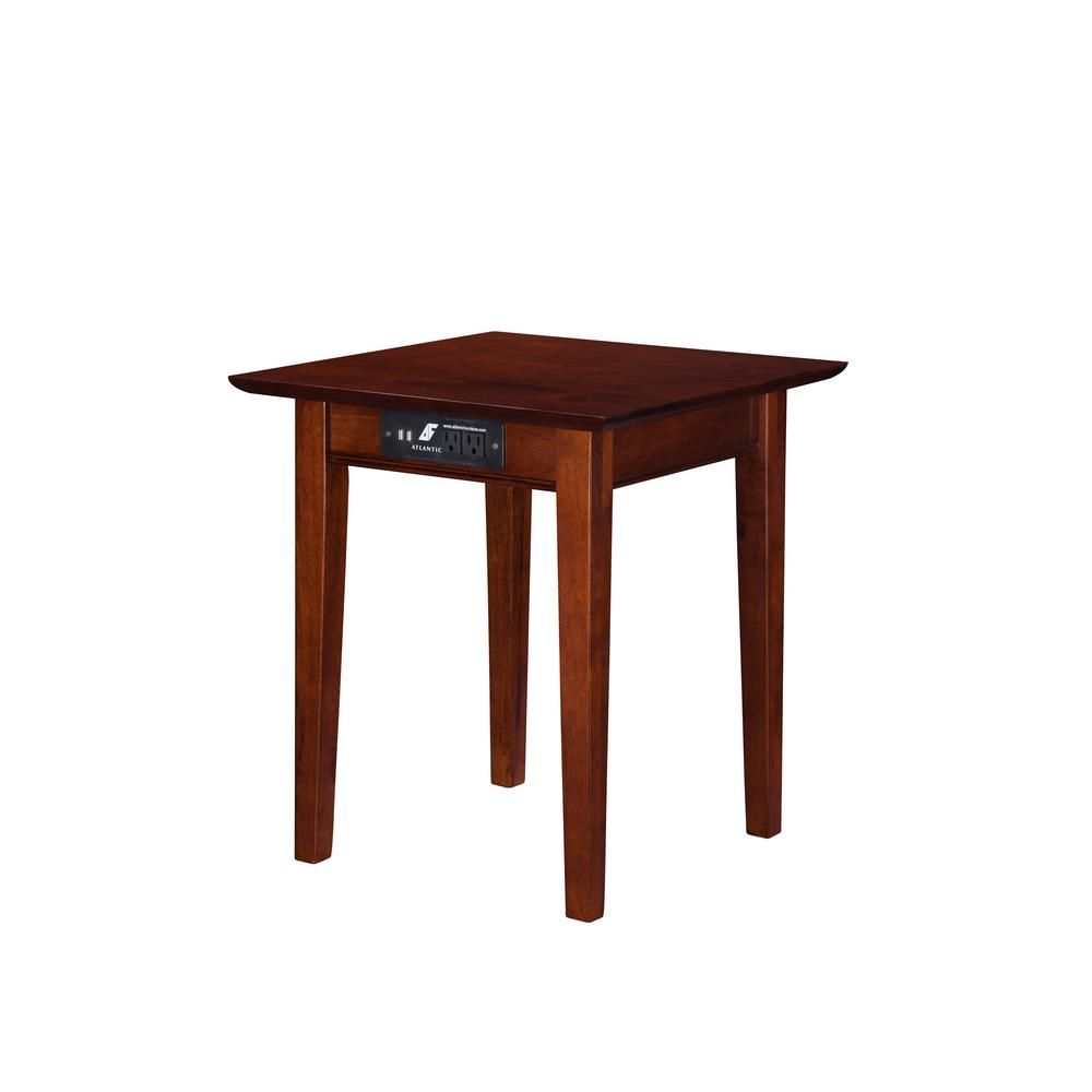 Atlantic Furniture Shaker Walnut End Table With Charging Station