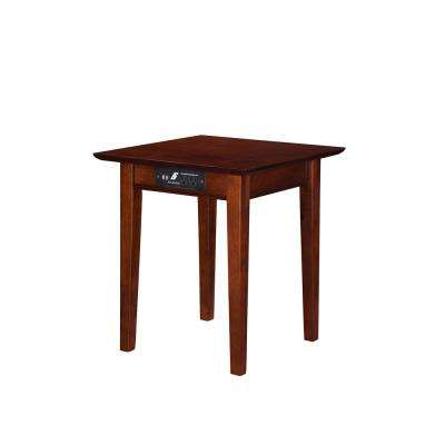 Shaker Walnut End Table with Charging Station
