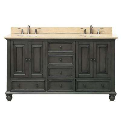 Thompson 61 in. W x 22 in. D x 35 in. H Vanity in Charcoal Glaze with Marble Vanity Top in Galala Beige with Basin