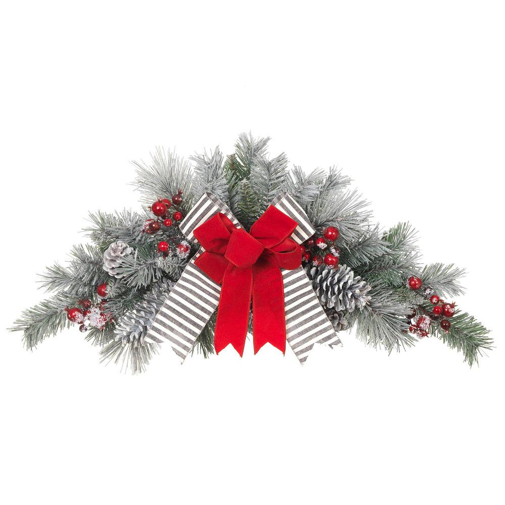 Christmas Swag.Home Accents Holiday 32 In Unlit Snowy Pine Swag With Gray Striped And Red Velvet Bows
