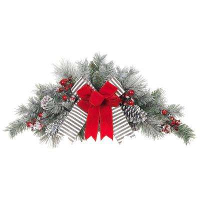 32 in. Unlit Snowy Pine Swag with Gray Striped and Red Velvet Bows