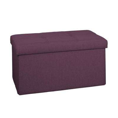 Burgundy Linen Look Double Folding Ottoman