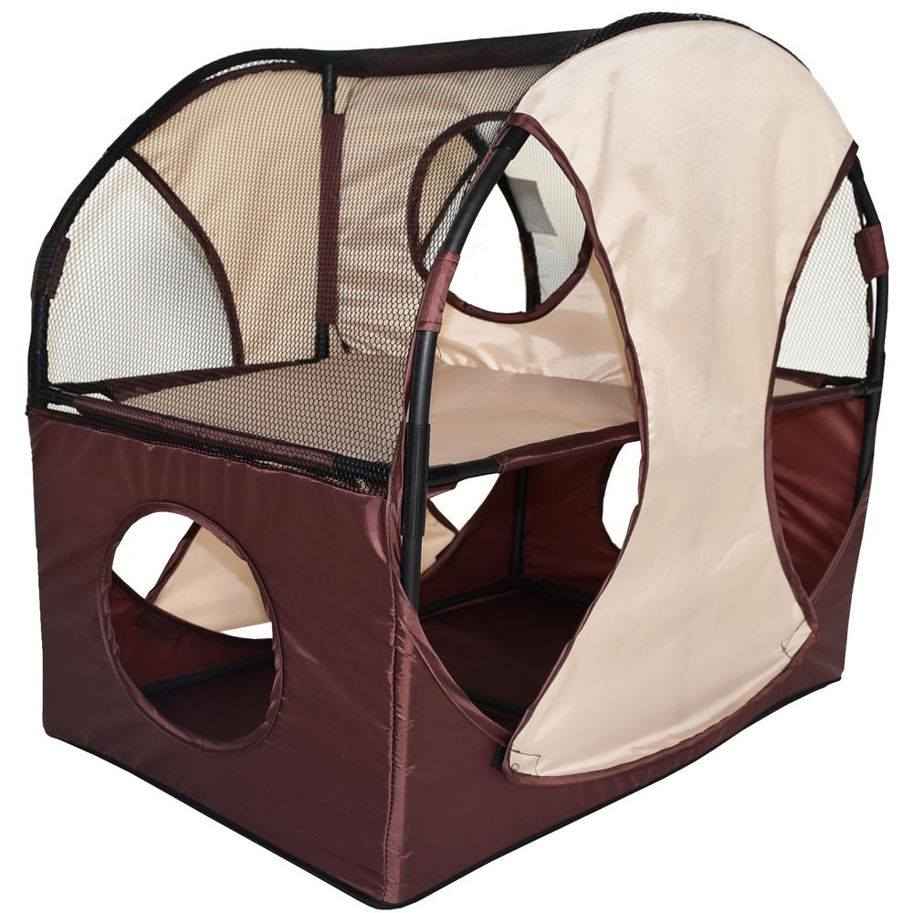 Khaki and Brown Kitty-Play Obstacle Travel Collapsible Soft Folding Pet Cat