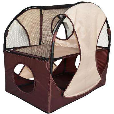 Khaki and Brown Kitty-Play Obstacle Travel Collapsible Soft Folding Pet Cat House