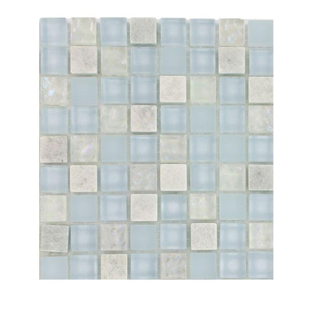 Splashback Tile Mist Trail Blend Marble Glass Mosaic Floor and Wall ...