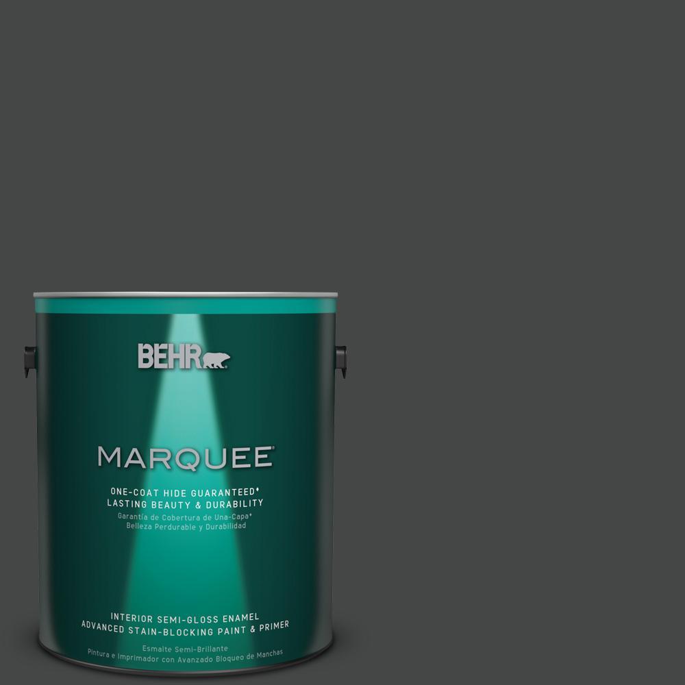 1 gal. #PPU26-23 Black Boudoir Semi-Gloss Enamel Interior Paint
