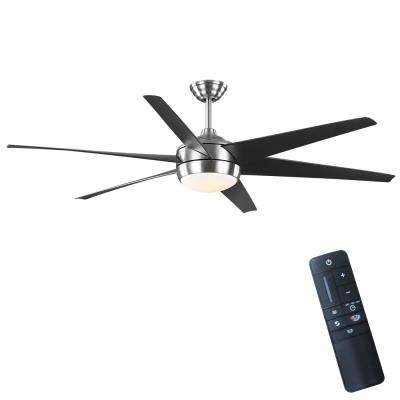 Windward 68 in. Color Changing Integrated LED Indoor/Outdoor Brushed Nickel Ceiling Fan with Light and Remote Control