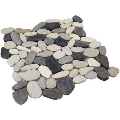 12 in. x 12 in. White, Grey and Dark Grey Honed Sliced Pebble Floor and Wall Tile (5.0 sq. ft. / case)