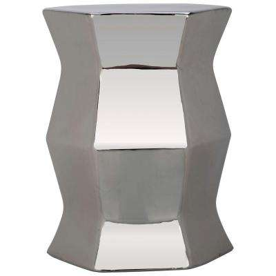 Modern Hexagon Plated Silver Garden Patio Stool