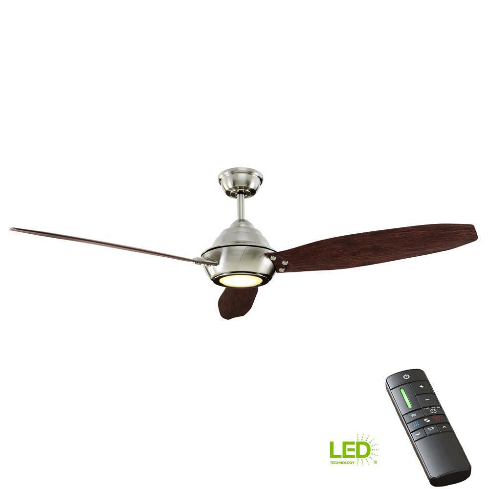 Integrated Led Indoor Outdoor Brushed Nickel Ceiling Fan With Light Kit And Remote Control