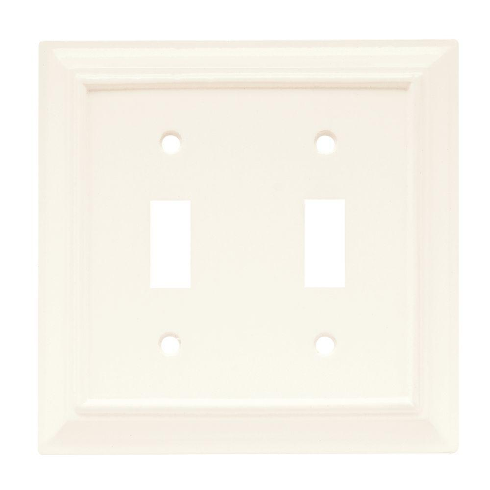 Hampton Bay Architectural Wood Decorative Double Switch Plate, White