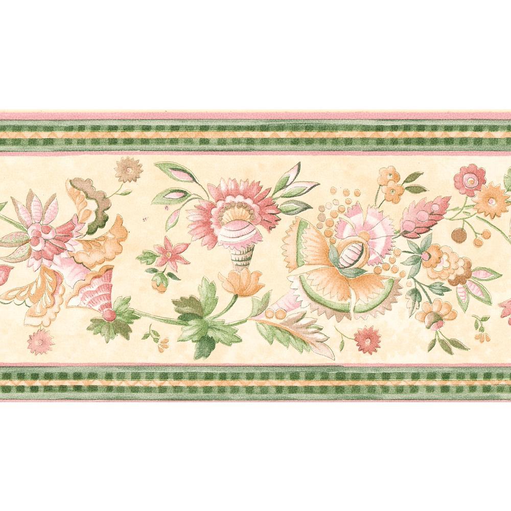 Pink jacobean floral wallpaper border 499b7024 the home - Floral wallpaper home depot ...