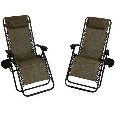 Oversized Dark Brown Zero Gravity Sling Patio Lounge Chair with Cupholder (2-Pack)