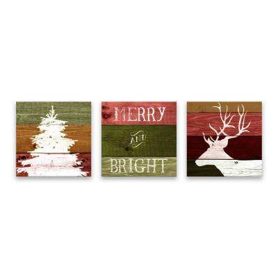 """""""Woodland Holiday Tree - Set of 3"""" by Lot26 Studio Printed Canvas Wall Art"""