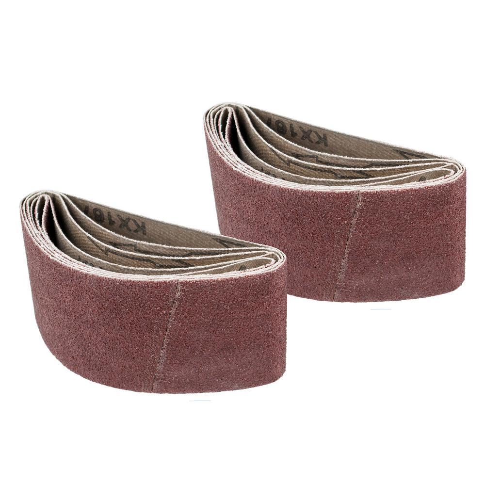 POWERTEC 2-1/2 in. x 14 in. 120-Grit Aluminum Oxide Sanding Belt (10-Pack)