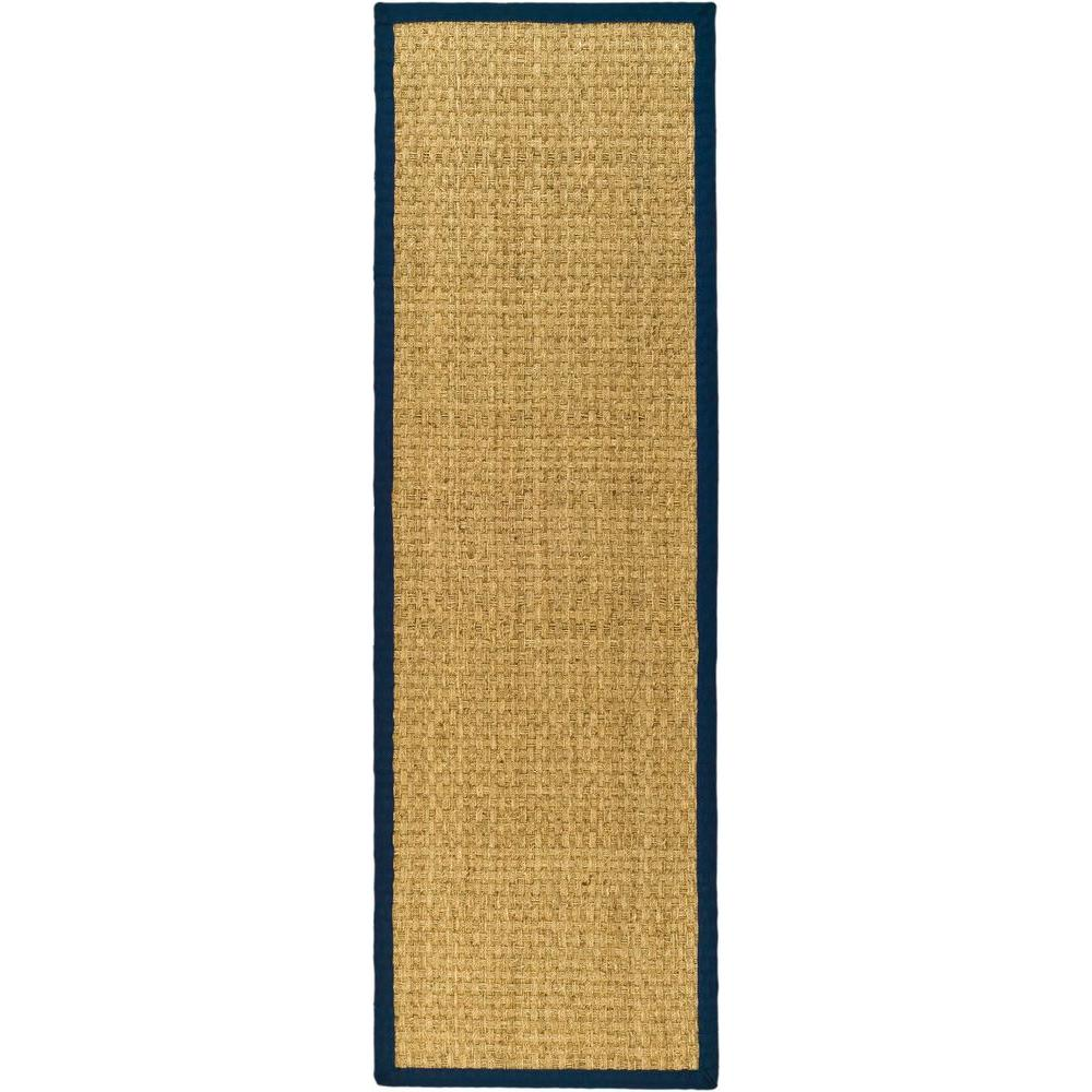 Natural Fiber Beige/Blue 2 ft. 6 in. x 10 ft. Runner