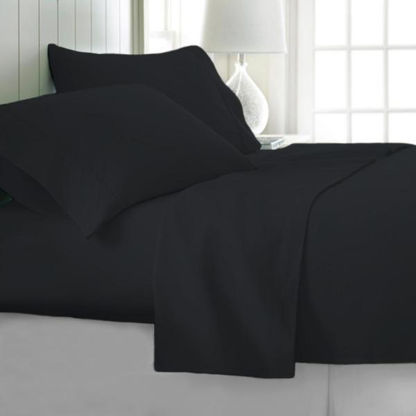 4-Piece Black Ultra Soft 1800 Series Bamboo Bed Sheets LH-1800BF-4PC-BLA-F
