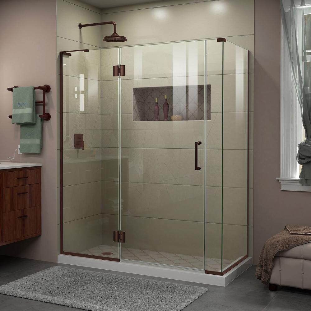 Unidoor-X 34-3/8 in. x 58 in. x 72 in. Frameless Hinged Shower Enclosure in Oil Rubbed Bronze