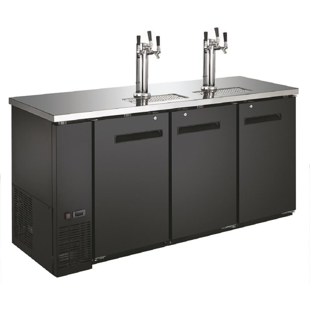 72.8 in. W Two Tower Six Taps Three Half Barrel Beer Keg Dispenser Refrigerator