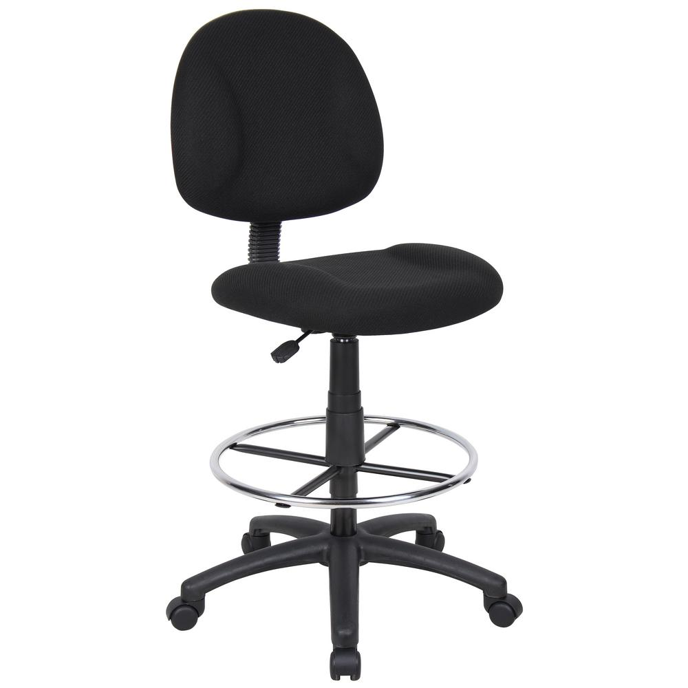 Boss Black Armless Drafting Stool