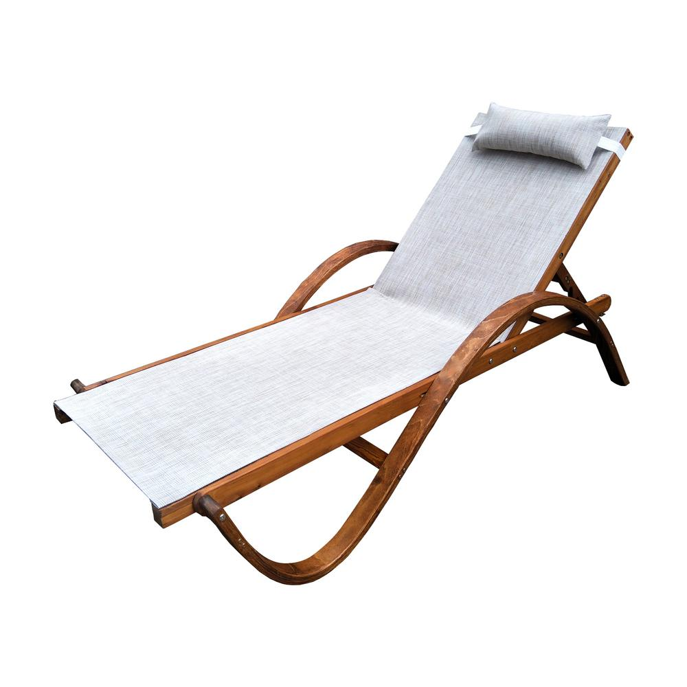 Awe Inspiring Leisure Season 79 In W X 22 In D X 27 In H Brown Reclining Sling Wooden Patio Chaise Lounge With Beige Cushion Creativecarmelina Interior Chair Design Creativecarmelinacom